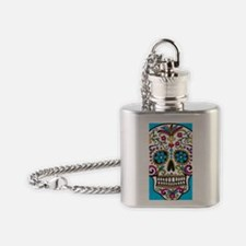 SugarSkull Halloween Blue Flask Necklace