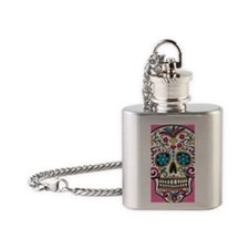 SugarSkull Halloween Pink Flask Necklace