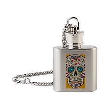 SugarSkull Halloween Yellow Flask Necklace