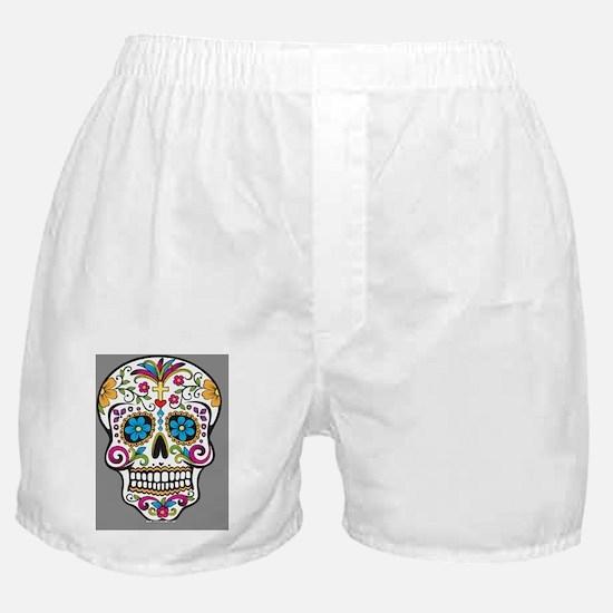 Sugar Skull Halloween Grey Boxer Shorts