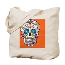 Sugar Skull Halloween Orange Tote Bag