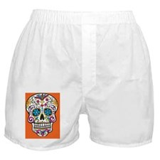 Sugar Skull Halloween Orange Boxer Shorts