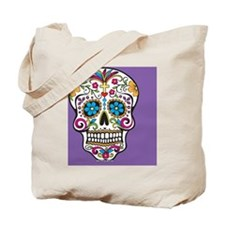 Sugar Skull Halloween Purple Tote Bag