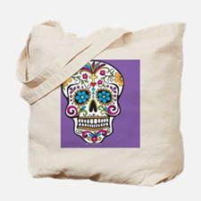 Sugar Skull Halloween Purple Tote Bag