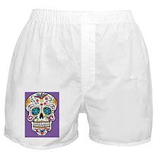 Sugar Skull Halloween Purple Boxer Shorts