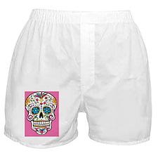 Sugar Skull Halloween Pink Boxer Shorts