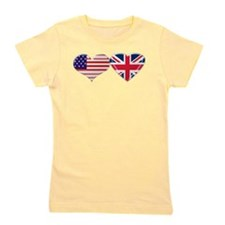 USA and UK Heart Flag Girl's Tee