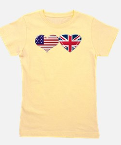 USA and UK Heart Flag Girl's Tee
