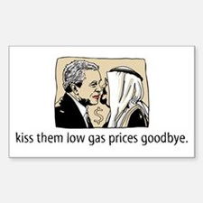 Bush Kiss Gas Prices Rectangle Decal
