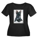 Scotty Art Women Plus Size Scoop Neck Dark T-Shirt