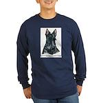 Scottish Terrier Art Long Sleeve Dark T-Shirt