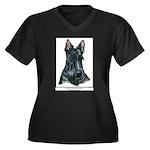 Scotty Art Women's Plus Size V-Neck Dark T-Shirt