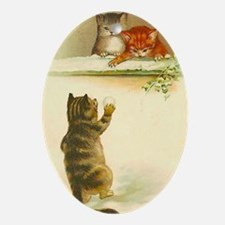 Cute Vintage Kittens Playing Oval Ornament