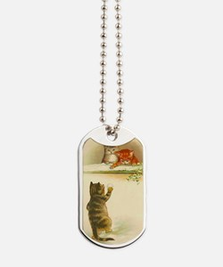 Cute Vintage Kittens Playing Dog Tags