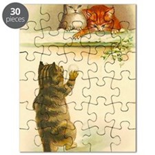Cute Vintage Kittens Playing Puzzle