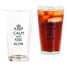 Keep Calm and kiss Aliya Drinking Glass