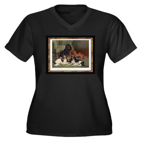 Toy Spaniels Women's Plus Size V-Neck Dark T-Shirt
