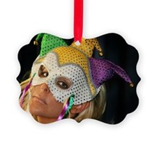 Blond Woman With Mask Ornament