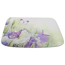 Flowers With Butterflies Bathmat