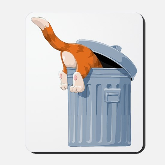 Cat in Trash Can Mousepad