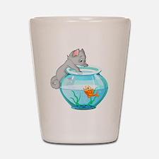 Curious Cat Fishing in Goldfish Bowl Shot Glass