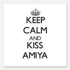 "Keep Calm and kiss Amiya Square Car Magnet 3"" x 3"""