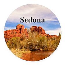 Sedona_6x6_v1_CathedralRock Round Car Magnet