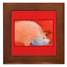 Pink Piggy Framed Tile