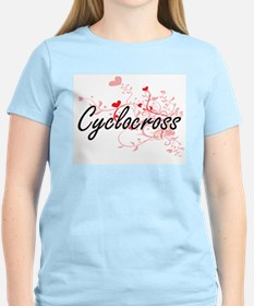 Cyclocross Artistic Design with Hearts T-Shirt