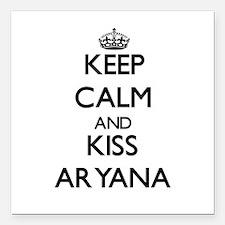 "Keep Calm and kiss Aryana Square Car Magnet 3"" x 3"