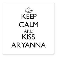"Keep Calm and kiss Aryanna Square Car Magnet 3"" x"