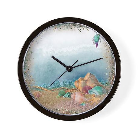 Beach sparkles with seashells wall clock by admin cp2865584 for Seashell wall clock