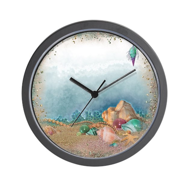 Beach sparkles with seashells wall clock by admin cp2865584 for Seashell clock