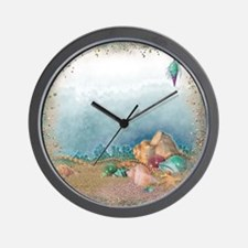 Beach sparkles with seashells Wall Clock