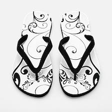 Floral ornaments skull Flip Flops