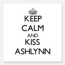 """Keep Calm and kiss Ashlynn Square Car Magnet 3"""" x"""
