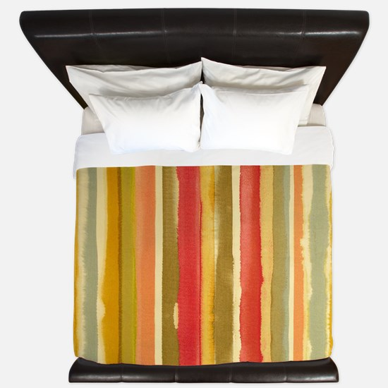 Earthy Rust Stripes King Duvet