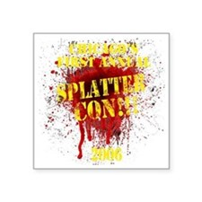 "Splatter Con!!! Dark Square Sticker 3"" x 3"""