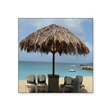 "St. Martin Beach 3 Square Sticker 3"" x 3"""