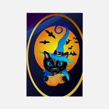 Blue Witch Kitty -Harvest Moon Rectangle Magnet