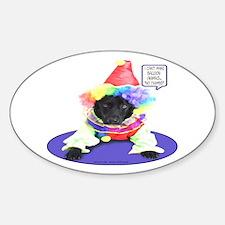 Black Lab Clown Oval Decal