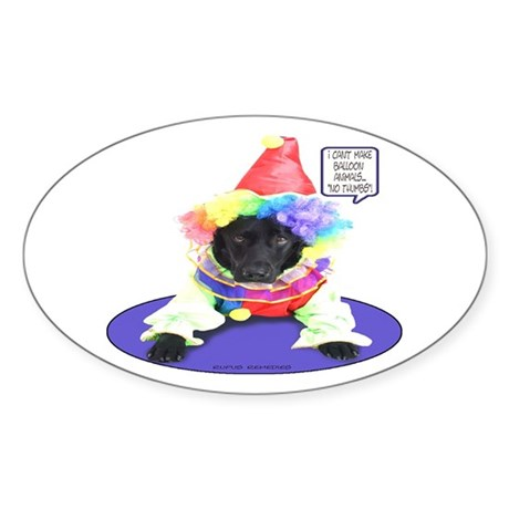 Black Lab Clown Oval Sticker