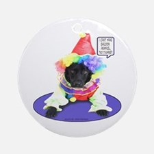 Black Lab Clown Ornament (Round)