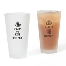 Keep Calm and kiss Britney Drinking Glass
