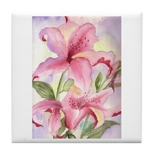 Unique Floral art painting pink Tile Coaster
