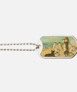 Cute Vintage Cats on the Beach Dog Tags