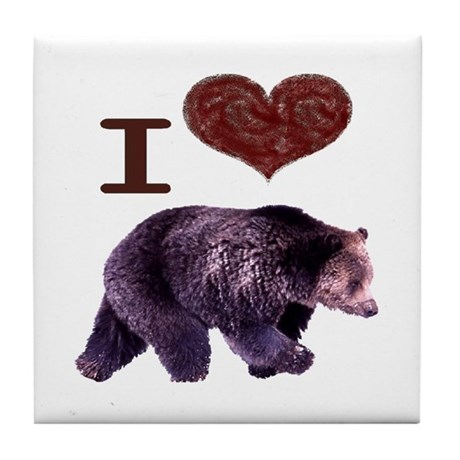 I Love Bears Tile Coaster