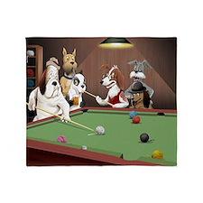 Cartoon Pool Dogs Throw Blanket