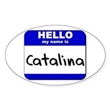 hello my name is catalina Oval Decal
