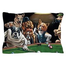 Dogs Playing Billiards Pillow Case